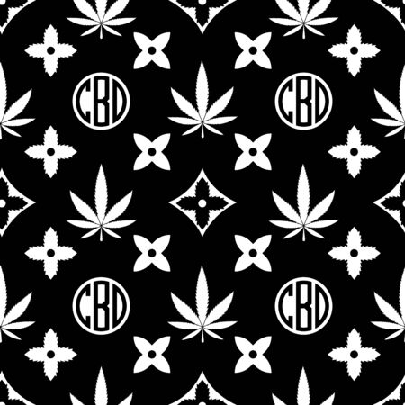 Marihuana nahtlose Muster. Weiß auf schwarzem Unkrautvektortapete. Cannabisblatt. Fliesenhintergrund. Vektor-Illustration. Für Web, Verpackung, Verpackung, Mode, Dekor, Oberfläche, Grafikdesign