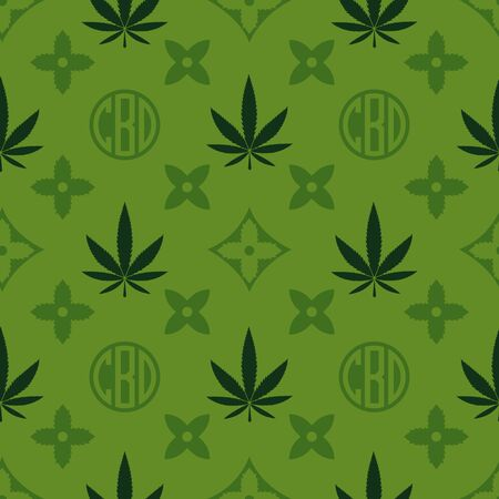 Marijuana seamless pattern. Green Weed vector wallpaper. Cannabis leaf. Tile background. Vector illustration. For web, packaging, wrapping, fashion, decor, surface, graphic design