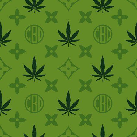 Modèle sans couture de marijuana. Papier peint de vecteur de mauvaises herbes vertes. Feuille de cannabis. Fond de tuile. Illustration vectorielle. Pour le web, l'emballage, l'emballage, la mode, la décoration, la surface, le graphisme