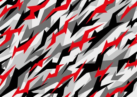 Grey camouflage with red highlight pattern. Modern abstract camo Vector background illustration for web, banner, backdrop, graphic or surface design use