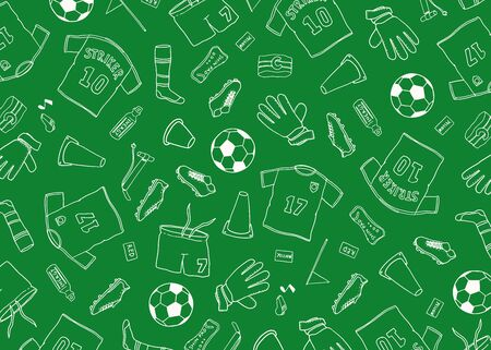 Football Soccer background doodle pattern. Vector illustration background. For print, textile, web, home decor, fashion, surface, graphic design