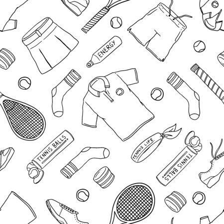 Équipement de tennis doodle modèle sans couture. Fond d'illustration vectorielle. Pour l'impression, le textile, le web, la décoration intérieure, la mode, la surface, la conception graphique Vecteurs