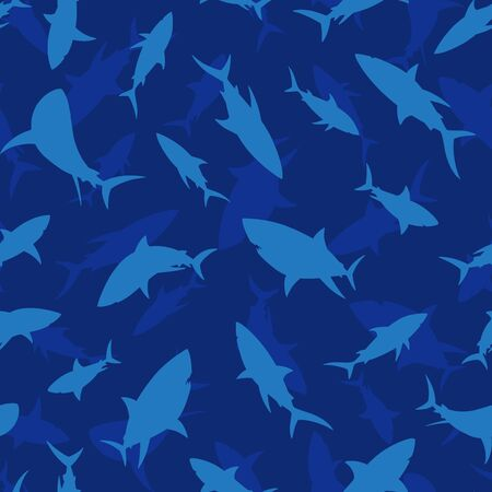 Shark seamless pattern. Shark silhouette vector background. For print, textile, web, home decor, fashion, surface, graphic design