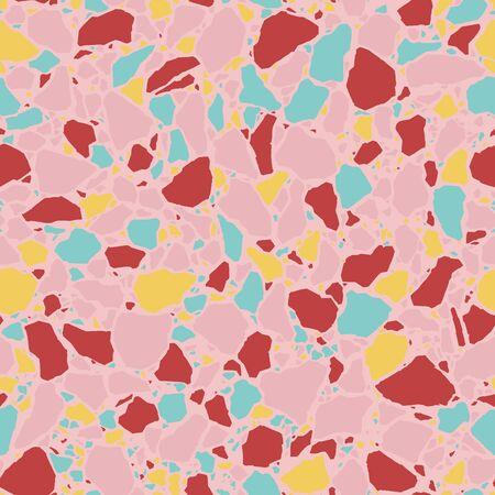 Terrazzo flooring seamless repeat pattern. Vector illustration background. Classic Italian Venetian style flooring. For print, textile, web, home decor, fashion, surface, graphic design