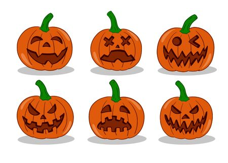 Pumpkin emoticon set. Vector illustration collection. Halloween pumpkin with various face expression.