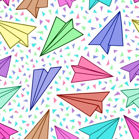 Paper planes seamless pattern. Vector illustration background. For print, textile, web, home decor, fashion, surface, graphic design 일러스트