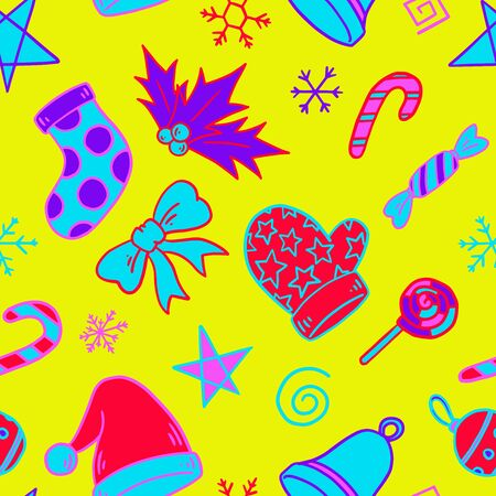 Christmas motif seamless pattern. Zine Culture doodle. Neon bright colored pattern. Vector illustration background. For print, textile, web, home decor, fashion, surface, graphic design 일러스트