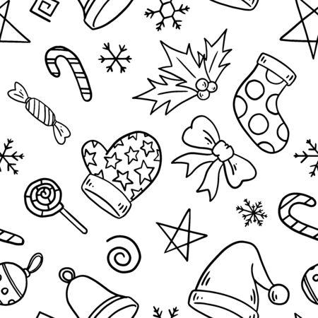Nahtloses Muster des Weihnachtsmotivs. Einfaches Doodle-Wiederholungsmuster. Vektorillustrationshintergrund. Für Print, Textil, Web, Wohnkultur, Mode, Oberfläche, Grafikdesign