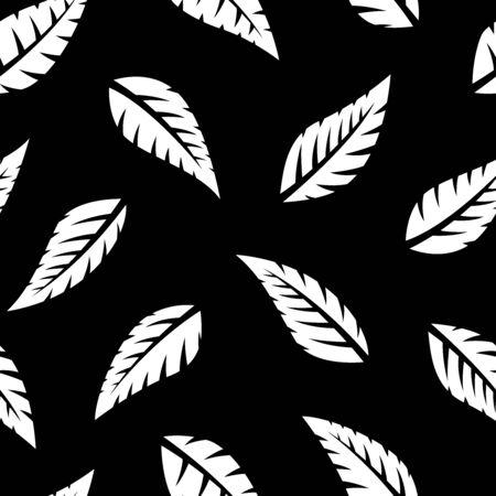 Simple falling leaves leaf silhouette seamless pattern 일러스트