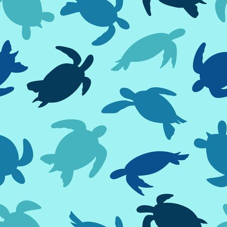 Turtle seamless pattern. Turtle silhouette vector background