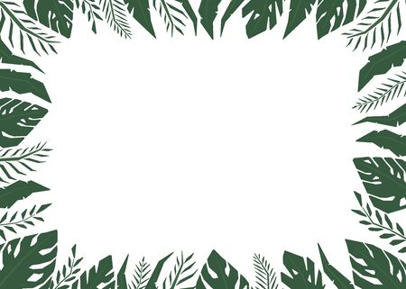 Tropical jungle leaves frame border with a blank space. View from above. Hand drawn illustration. 일러스트