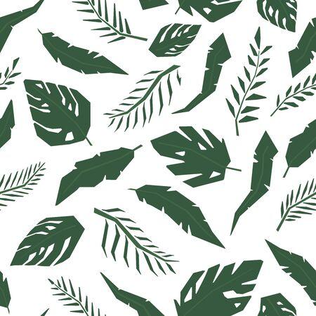 Tropical jungle leaves seamless pattern. Hand drawn illustration pattern.
