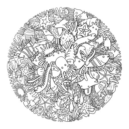 Sea Life doodle. Collection of  marine ocean creatures doodle in a circle frame. Black and white illustration. 일러스트