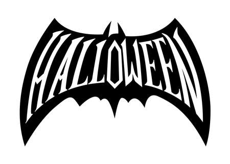 Halloween word inside a bat silhouette. Hand drawn vector illustration. For web, Halloween or spooky events, fashion, graphic design Vector Illustration