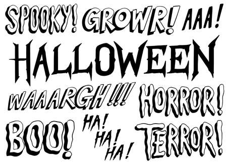 Set of scary words. Spooky Halloween cartoon words collection. Hand drawn, Black and white vector illustration.