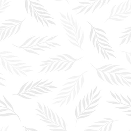 Hand drawn leaf seamless pattern design. Subtle white background. Vector illustration for surface design, print, poster, icon, web, graphic designs.