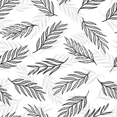 Hand drawn leaf seamless pattern design. Black and white background. Vector illustration for surface design, print, poster, icon, web, graphic designs.