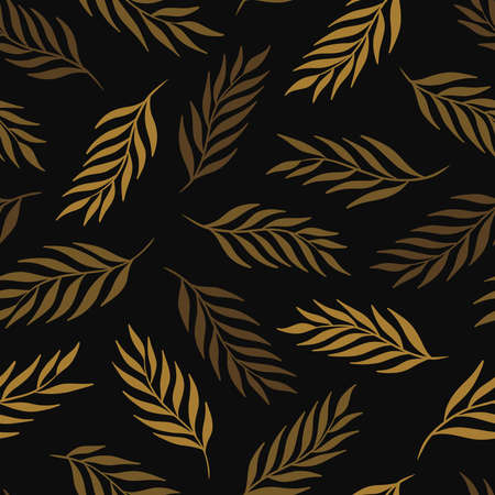 Hand drawn leaf seamless pattern design. Gold on black background. Vector illustration for surface design, print, poster, icon, web, graphic designs.