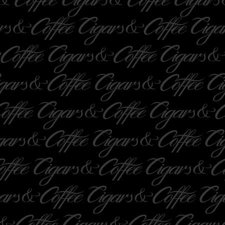 Cigars and coffee seamless pattern. Black subtle repeat pattern. Vector text illustration for surface design, print, poster, icon, web, graphic designs.