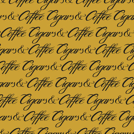 Cigars and coffee seamless pattern. Black and gold repeat pattern. Vector text illustration for surface design, print, poster, icon, web, graphic designs.