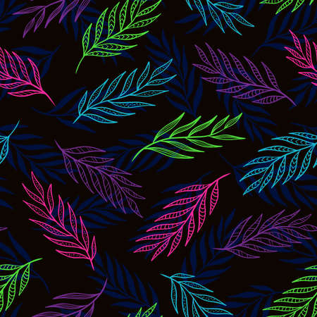Hand drawn leaf seamless pattern design. Neon colors on black background. Vector illustration for surface design, print, poster, icon, web, graphic designs.