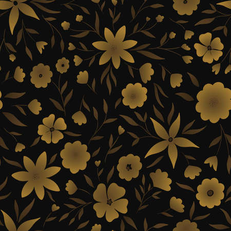 Abstract Batik flowers seamless pattern. Gold on black background. Vector illustration for surface design, print, poster, icon, web, graphic designs.