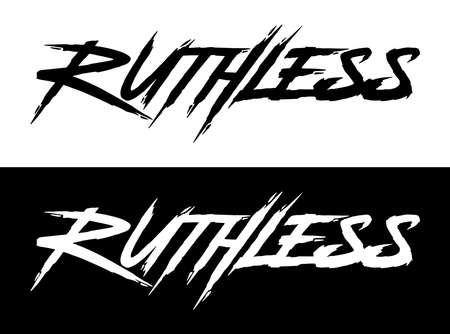 Ruthless. Hand lettering art. Rough brush style letters on isolated background. Black and white. Vector text illustration t shirt design, print, poster, icon, web, graphic designs. 向量圖像