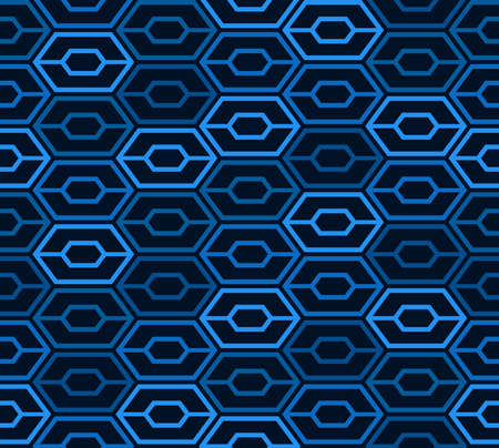 Abstract hexagon seamless pattern. Blue space age background. Vector illustration for surface design, print, poster, icon, web, graphic designs.
