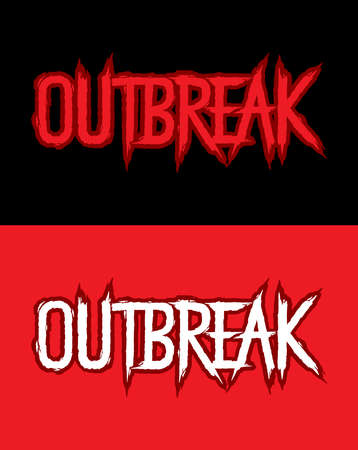 Outbreak. Hand lettering art. Brush style letters on isolated background. Red and black. Vector text illustration t shirt design, print, poster, icon, web, graphic designs. 向量圖像