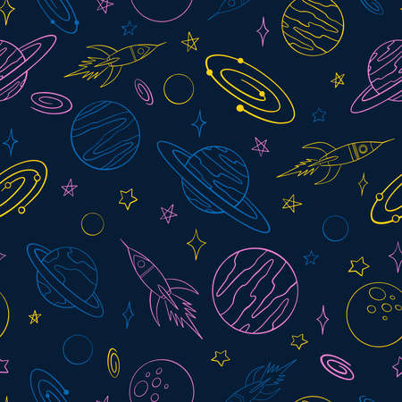 Spaceships and planets doodle seamless pattern. Hand drawn background. Vector illustration for surface design, print, poster, icon, web, graphic designs.