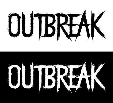 Outbreak. Hand lettering art. Brush style letters on isolated background. Black and white. Vector text illustration t shirt design, print, poster, icon, web, graphic designs. 向量圖像