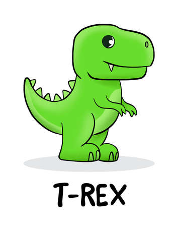 Cute baby t-rex standing. Vector illustration for t shirt design, print, poster, icon, web, graphic designs.