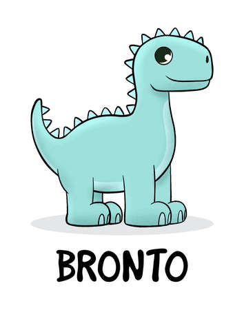 Cute baby Brontosaurus standing. Vector illustration for t shirt design, print, poster, icon, web, graphic designs.