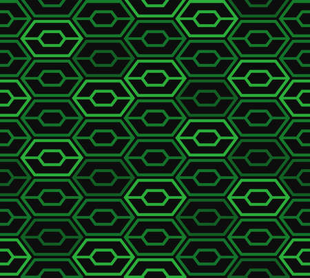 Abstract hexagon seamless pattern. Green space age background. Vector illustration for surface design, print, poster, icon, web, graphic designs.