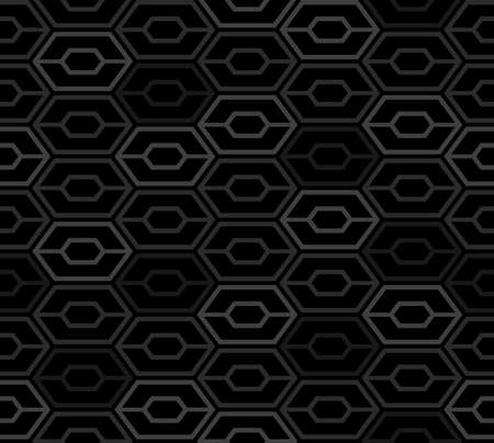 Abstract hexagon seamless pattern. Dark space age background. Vector illustration for surface design, print, poster, icon, web, graphic designs.