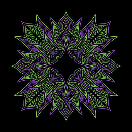Hand drawn mandala. Colorful vector illustration isolated on black background. Decorative ornament in ethnic oriental style. Coloring book page. 向量圖像