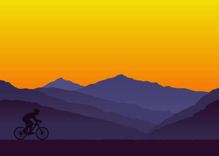 Person riding bicycle. Mountain and sunset background. Vector illustration 向量圖像