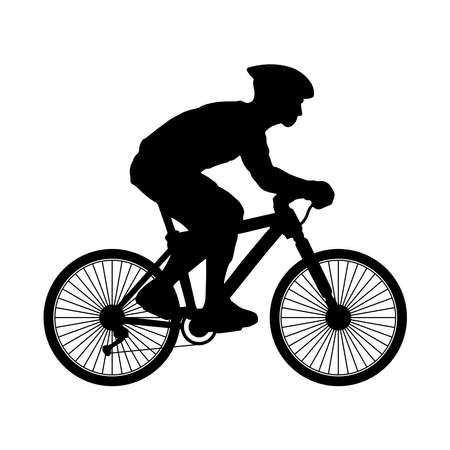 A silhouette of a male biker with helmet. Isolated vector artwork against white background.
