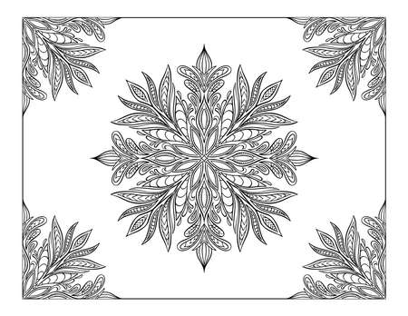 Hand drawn mandala frame. Letter size vector illustration isolated on white background. Decorative ornament in ethnic oriental style. Coloring book page.