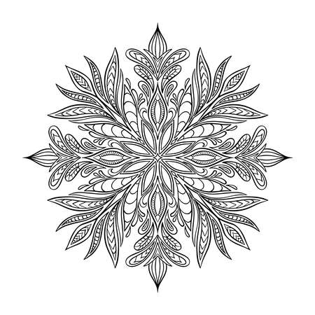 Hand drawn mandala. Vector illustration isolated on white background. Decorative ornament in ethnic oriental style. Coloring book page. 向量圖像