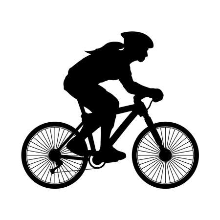 A silhouette of a female biker with helmet. Isolated vector artwork against white background.
