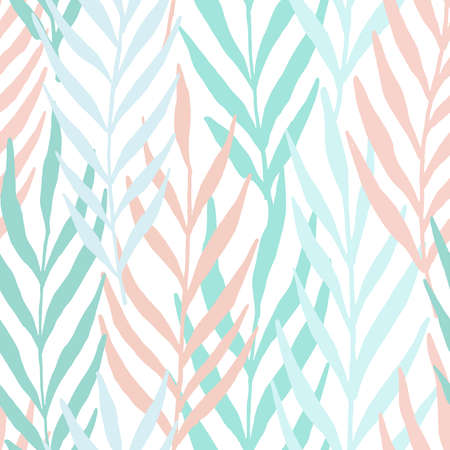 Pastel leaves seamless pattern. Vector pattern illustration for surface design, print, poster, icon, web, graphic designs. 向量圖像