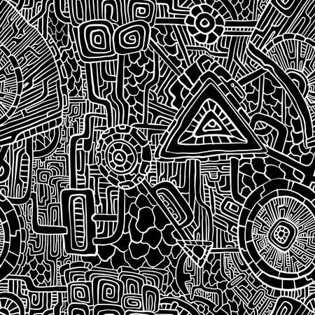 Psychedelic abstract seamless pattern. Black and white background. Vector illustration for surface design, print, poster, icon, web, graphic designs. 向量圖像
