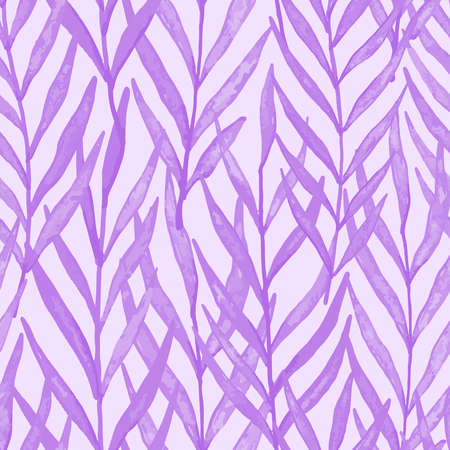 Purple watercolor leaves seamless pattern. Vector pattern illustration for surface design, print, poster, icon, web, graphic designs.