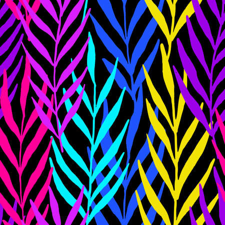 Neon leaves seamless pattern. Vector pattern illustration for surface design, print, poster, icon, web, graphic designs.