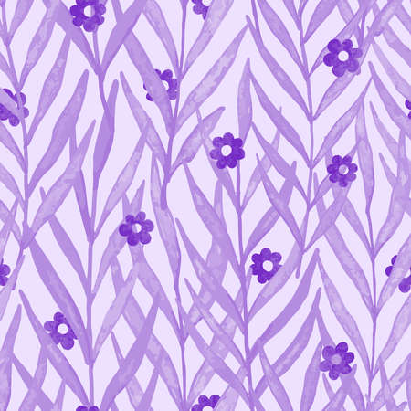 Purple watercolor leaves with flowers seamless pattern. Vector pattern illustration for surface design, print, poster, icon, web, graphic designs.