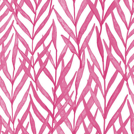Pink watercolor leaves seamless pattern. Vector pattern illustration for surface design, print, poster, icon, web, graphic designs. 向量圖像