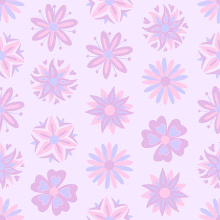 Abstract purple flowers seamless pattern. Vector illustration pattern for surface, t shirt design, print, poster, icon, web, graphic designs.