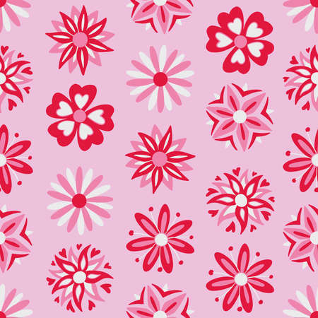 Abstract pink flowers seamless pattern. Vector illustration pattern for surface, t shirt design, print, poster, icon, web, graphic designs.