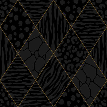Abstract diamond animal print with gold lining. Vector illustration pattern for surface, t shirt design, print, poster, icon, web, graphic designs.
